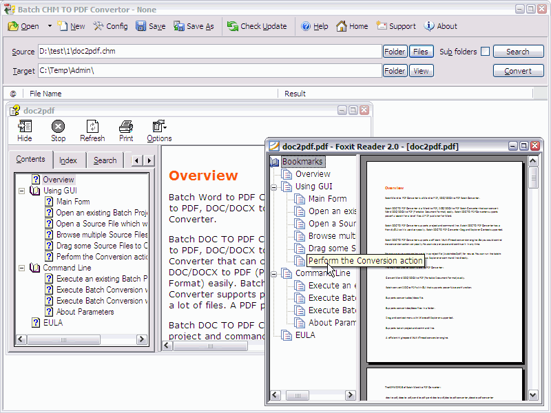 Batch CHM to PDF Converter