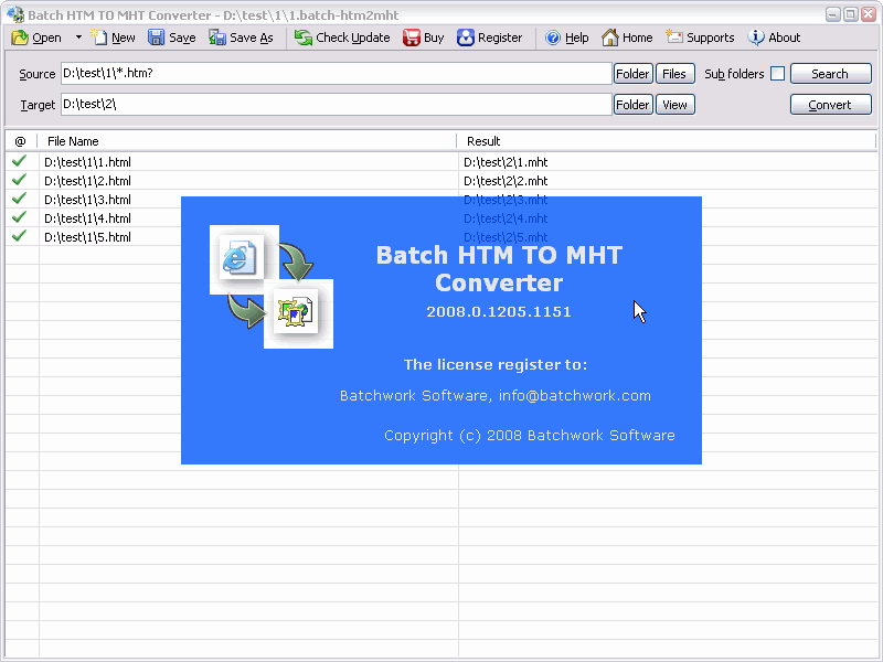 Batch HTML to MHT Converter