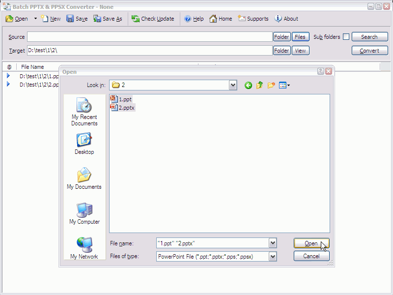 Batch PPTX and PPSX Converter